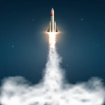 Lanzamiento realista de cohetes espaciales