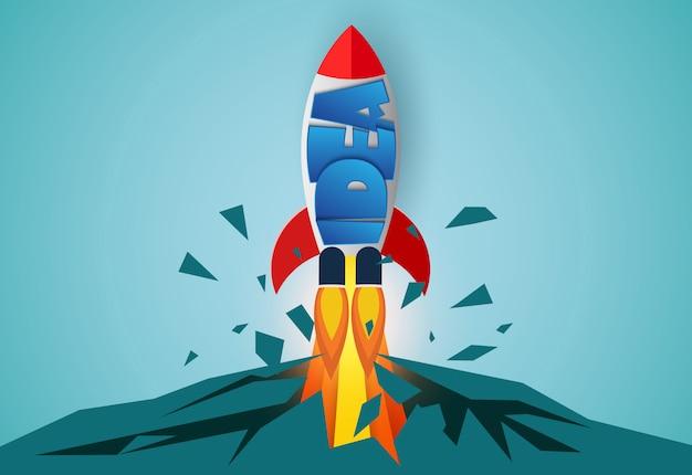Lanzamiento del transbordador espacial al cielo