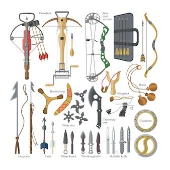 Lanzar armas afiladas flechas de ballesta y cuchillo o hacha ilustración conjunto de armamento de ninja-kunai o shuriken y arpón de equipo de armadura de mango sobre fondo blanco