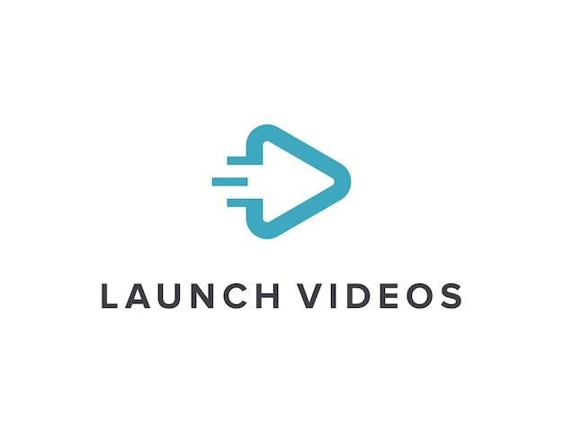 Lanzar reproducir videos simple elegante creativo geométrico moderno diseño de logotipo