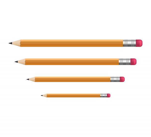 Lápices afilados de madera amarilla