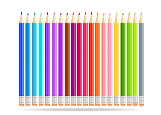 Lápices de arco iris aislados sobre fondo blanco.