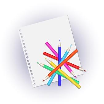 Lápices de colores sobre una página en blanco. ilustración de vetor
