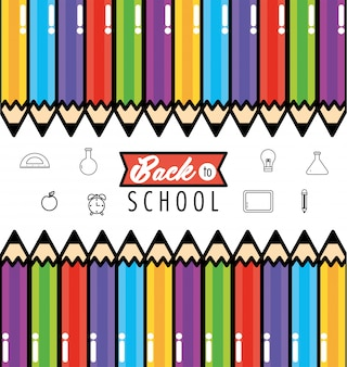 Lápices de colores, utensilios para fondo escolar.