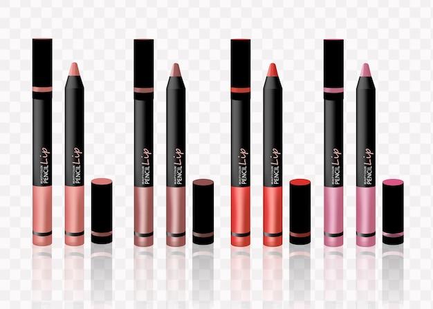 Lápices cosméticos lápiz labial componen lápices de sombra de ojos - aislados en fondo blanco