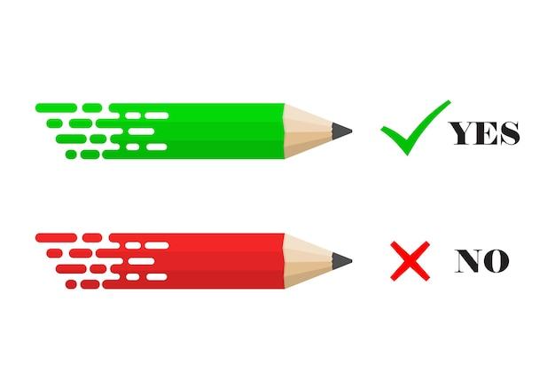 Lápices con marcas de verificación sí y no