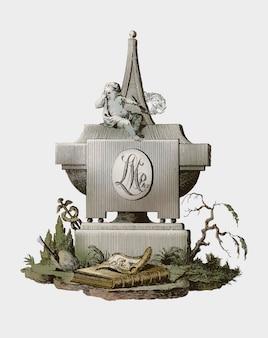 Lápida con ángel de luto