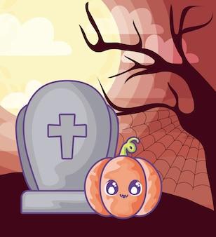Lápida de cementerio con calabaza de halloween