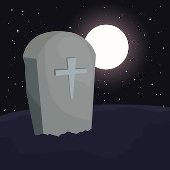 Lápida de cementerio con luna en escena de halloween
