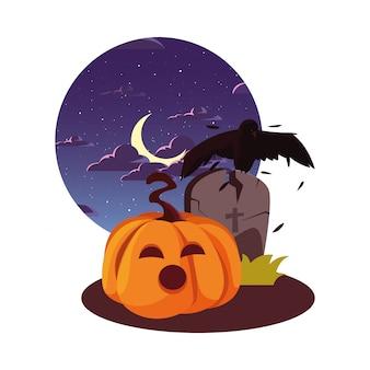 Lápida feliz celebración de halloween