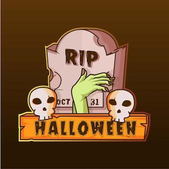 Lápida y mano zombie cráneo halloween logo ilustración