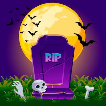 Lápida en la noche con luna llena, cartel de tarjeta de fondo de halloween