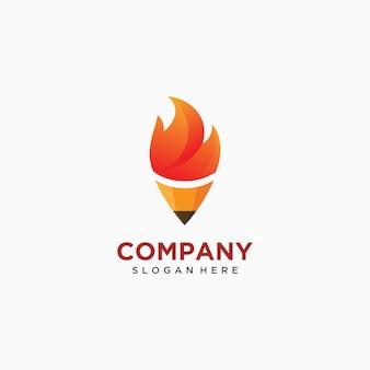 Lápiz, antorcha, fuego, logotipo, icono, ilustración