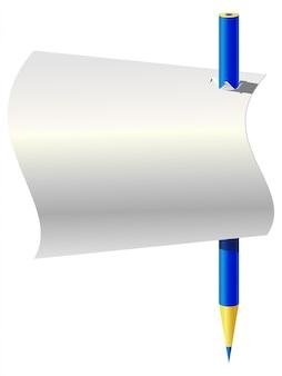 Lápiz azul y una hoja de papel.