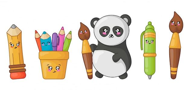 Lápiz, bolígrafo, pincel y panda kawaii de regreso a la escuela