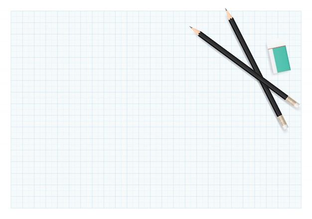 Lápiz y borrador en el fondo de la hoja de papel de dibujo.