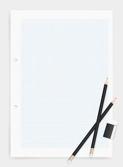 Lápiz y borrador sobre papel de dibujo de fondo.