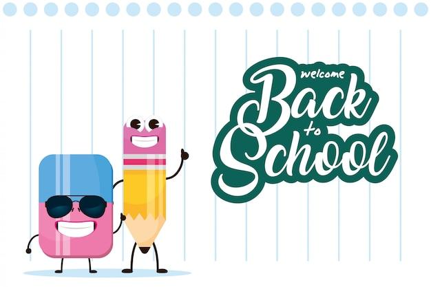 Lápiz y borrador de útiles escolares, diseño de ilustraciones de personajes kawaii