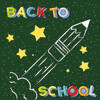 Lápiz cohete despegando dibujado en la pizarra, ilustración de regreso a la escuela