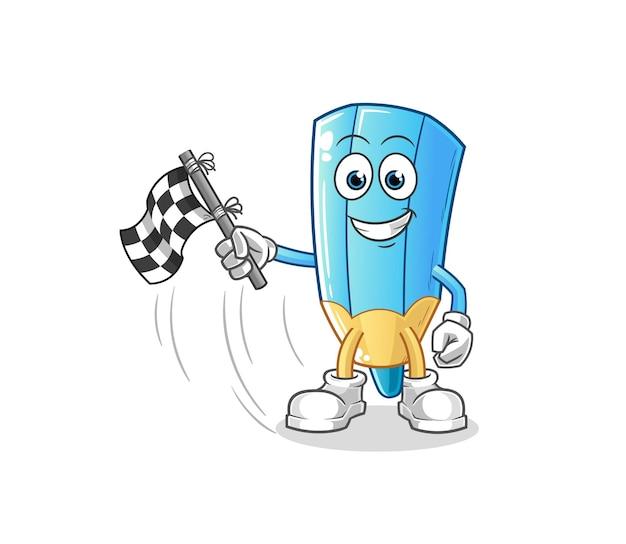 El lápiz de color sostiene la bandera de acabado. mascota de dibujos animados