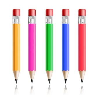 Lápiz colorido conjunto realista aislado en blanco