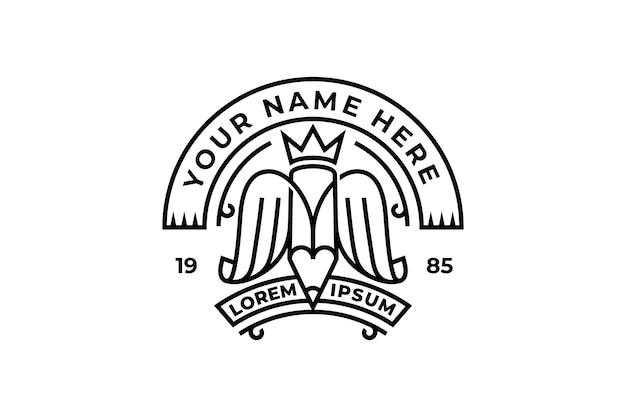 Lápiz creativo con diseño de logo de corona y alas.