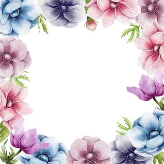 Lápiz dibujado a mano flores frontera
