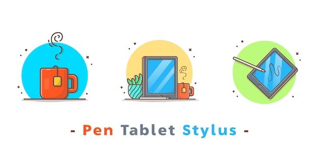 Lápiz dibujo tableta stylus iconos