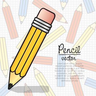 Lápiz de dibujos animados sobre patrón de plantilla de lápices de colores
