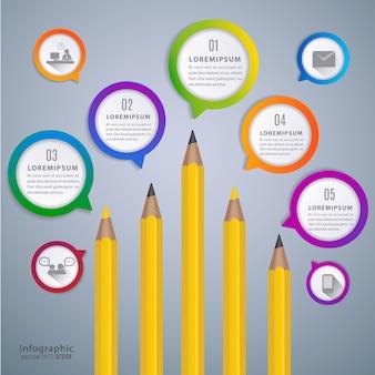 Lápiz infografía de discurso para la educación.