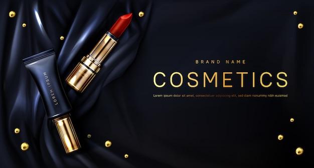 Lápiz labial cosméticos maquillaje belleza producto banner
