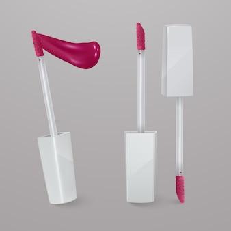 Lápiz labial líquido rosa brillante realista con trazo de lápiz labial. ilustración 3d, diseño cosmético de moda