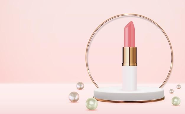 Lápiz labial natural realista 3d en podio rosa con diseño de perlas. plantilla de producto cosmético de moda