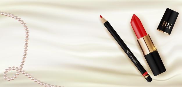 Lápiz labial realista 3d y lápiz sobre seda blanca con plantilla de diseño de perlas