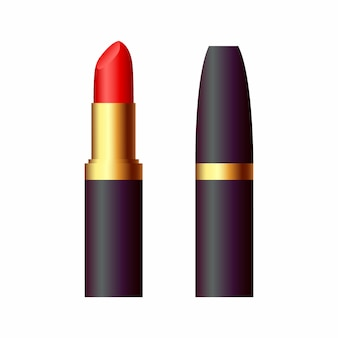 Lápiz labial rojo en un tubo oscuro aislado