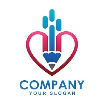 Lápiz logo y forma de corazón.