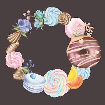 Lápiz pintado a mano conjunto de corona con dulces