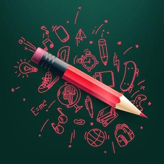 Lápiz rojo con garabatos elementos ilustración. ciencia y educacion
