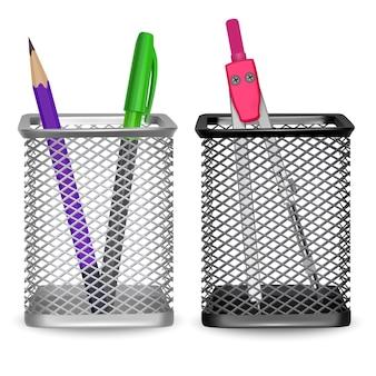 Lápiz simple realista, bolígrafo y brújula de dibujo, oficina y papelería en la canasta sobre fondo blanco, ilustración