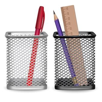 Lápiz simple realista, regla y bolígrafo rojo, oficina y papelería en la canasta sobre fondo blanco, ilustración