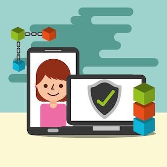 Laptop cellphone marca de verificación blockchain e-commerce