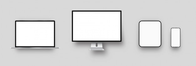 Laptop, computadora de escritorio, tablet pc, maquetas de teléfonos inteligentes