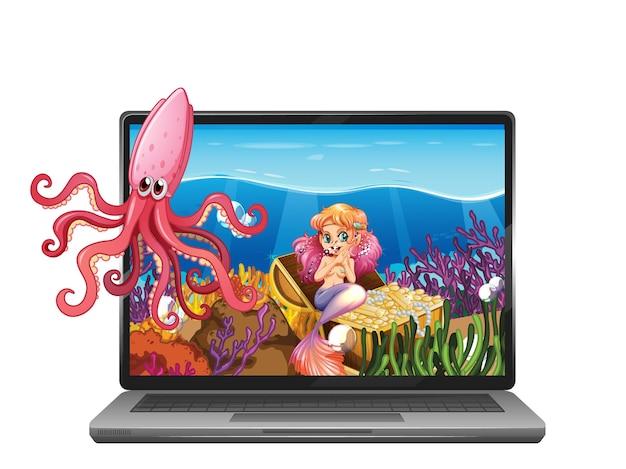 Laptop con escena submarina en pantalla