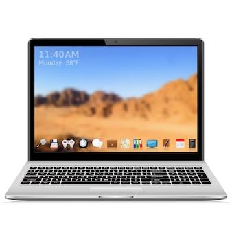 Laptop con interfaz de usuario en pantalla