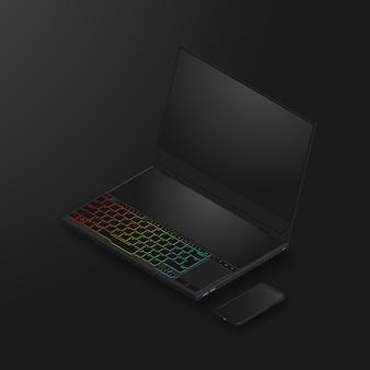 Laptop para juegos con pantalla dual y teléfono inteligente