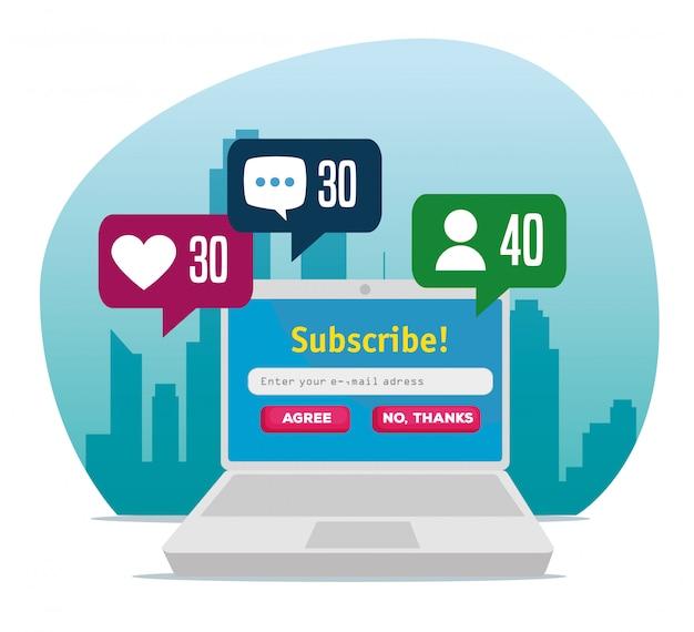 Laptop con perfil de chat social comunitario