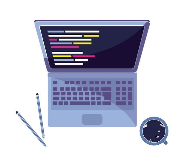 Laptop con programa de codigo y cafe con lapices.