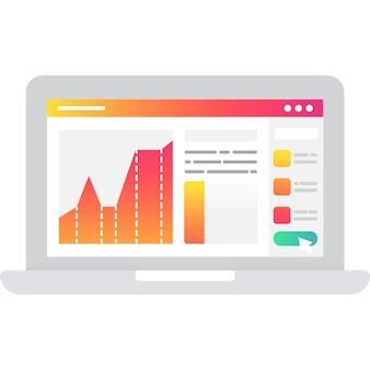Laptop de vector de icono de estrategia con análisis de datos