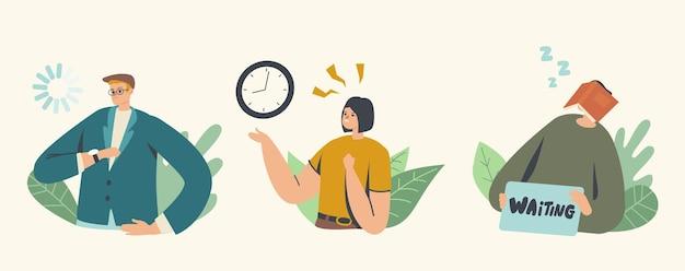 Larga espera, personaje durmiendo con libro en la cara, mujer nerviosa prisa, mirada de hombre de negocios en el reloj de pulsera. cita, retraso en la salida del aeropuerto. esperando con impaciencia. ilustración de vector de gente de dibujos animados