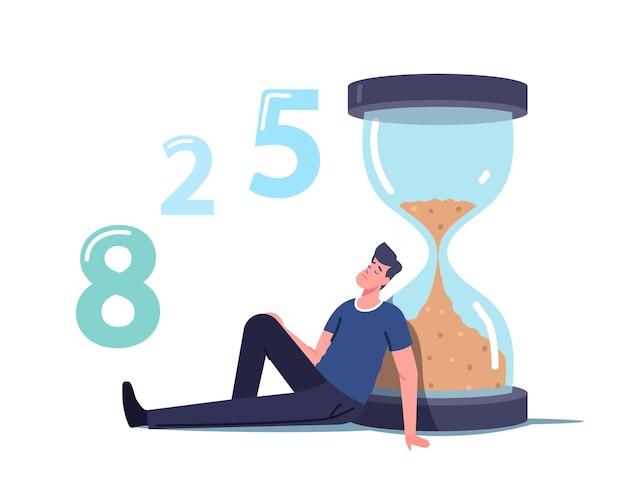 Larga espera, personaje masculino en el pasillo sentado y durmiendo en enorme reloj de arena